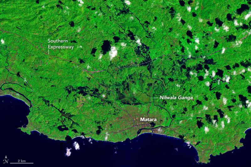 Zdjęcie satelitarne Sri Lanki z 29 stycznia (przed powodzią), fot. ESA