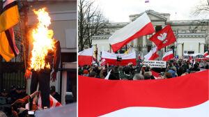 Podpalili kukłę Putina przed ambasadą Rosji