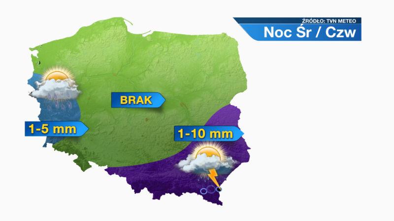 Prognozowana suma opadów w nocy ze środy na czwartek