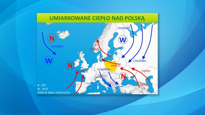 Umiarkowane ciepło nad Polską