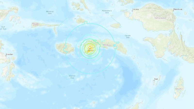 Miejsce, w którym wystąpiło ognisko wstrząsów (USGS)